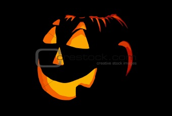 Abstract halloween icon on black, terrible smile