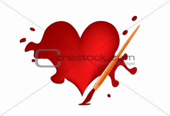 painted heart in vector