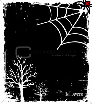 Grunge Halloween background with tree and spider