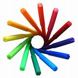 Rainbow circle of felt pens on white