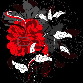 Background with red flower