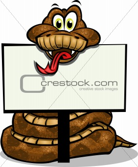 Cute Snake holding sign