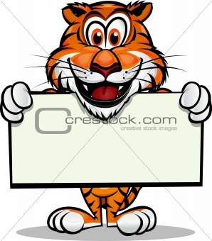Cute Tiger holding sign
