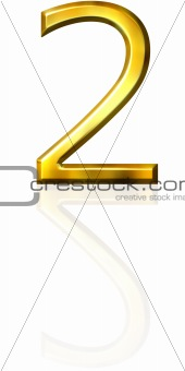 3d golden number 2 with reflection