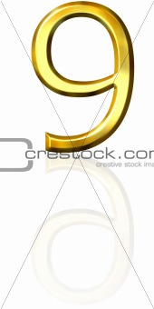 3d golden number 9 with reflection