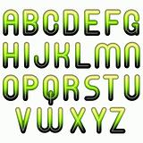 green shiny glossy 3d child funny bubble alphabet