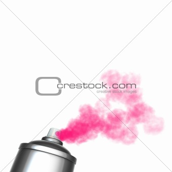 3d render of a graffiti spray can spraying a pink mist
