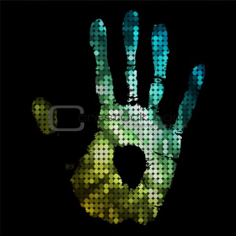 brightly coloured hand print