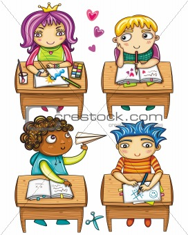 schoolchildren sitting at the desk