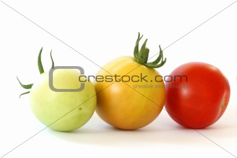 Three tomatoes colorful tomatoes on white background