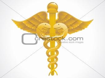 abstract golden caduceus sign