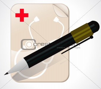 abstract medical note pad with pen