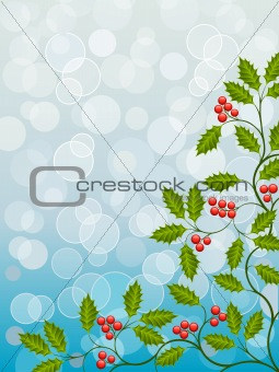 Abstract background with a holly branch. Vector illustration.