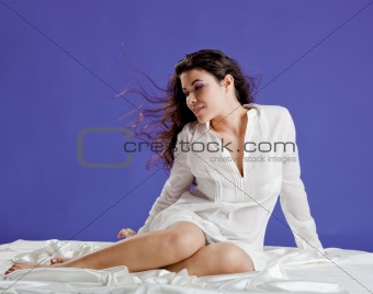 Beautiful woman on the bed