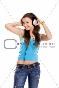 Young girl listen music