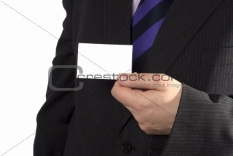 A businessman with a blank card