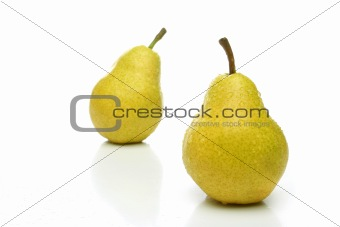 A pair of yellow pears