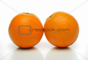 A pair of juicy oranges