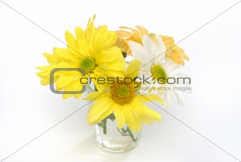 Group of flowers in a glass vase