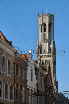 Church Steeple & Clock In Brugges, Belgium