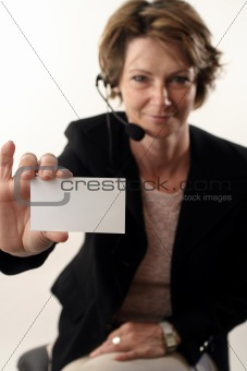 business woman showing card