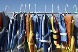 Buoyancy jackets on a rail