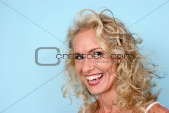 Blond model laughing