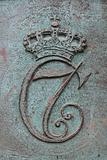 Royal monogram on a cannon