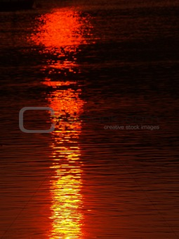 A sunset reflected on water