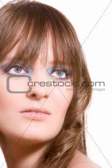 Beautiful brunette on white background