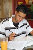 Young college student studying