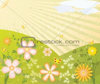 Abstract art floral design background vector illustration