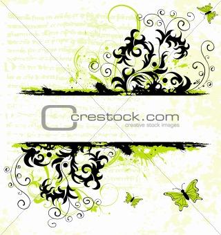 Grunge flower frame