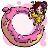 a donut and a little girl