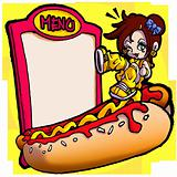 a little girl and an hot-dog who will eaten with greendiness