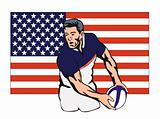 Rugby player passing the ball with American flag