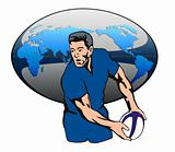 Rugby player passing the ball with world map