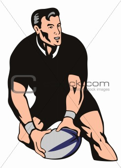 Rugby player about to pass the ball