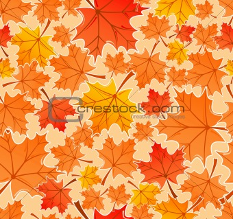 Autumn leaves seamless pattern, vector