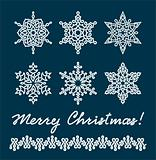 Unique snowflakes / vector / christmas background