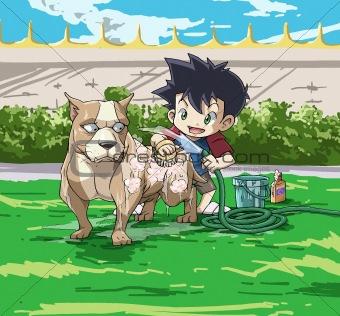 a cute little boy with a big pitbull dog