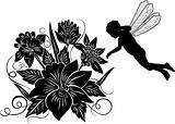 Element for design, flower with silhouette elf, illustration