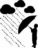 Silhouette child with umbrella