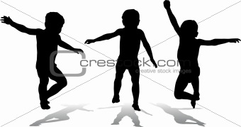 Three jumping children