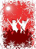 Christmas background with silhouettes, vector