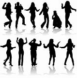 Vector silhouettes dancing man and women