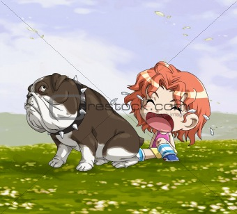 a cute little girl with a big pitbull dog