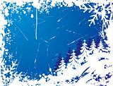 Snowflake grunge frame, elements for design, vector