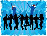 Christmas background with dancing silhouettes, vector