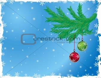 Grunge christmas background with baubles, vector
